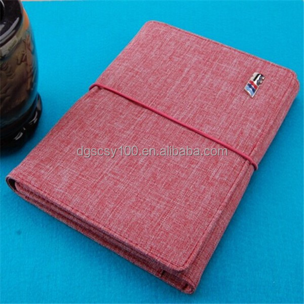 Soft cloth cover expandable note pad portfolio with elastic strap