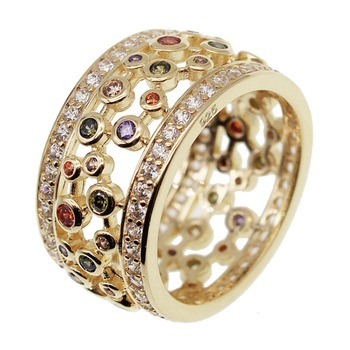 Hermosa Yellow Gold Gemstone Garnet Amethyst Morganite Peridot Ring Wedding Colorful Jewelry Ring For Her gifts Size 7 8 9#