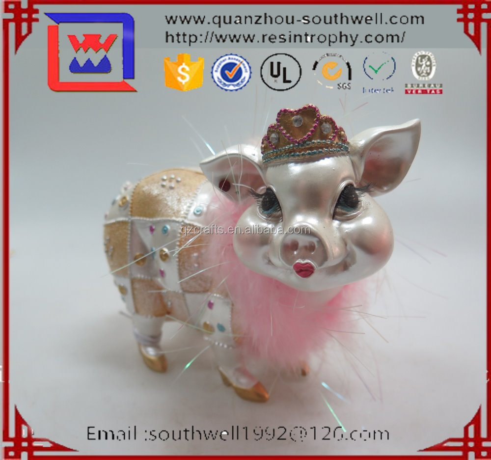 Hand Painted Pink Flowers Fairy Resin Pig