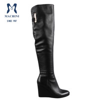 Machini shoes wholesale latex women genuine leather thigh high boots
