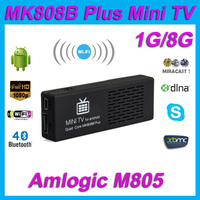 MK808B Plus Amlogic M805 Android 4.4 Quad Core TV Stick Dongle H.265 Decode 1G/8G Bluetooth WiFi XBMC Mini PC USB TF Ca