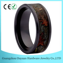Camo Wedding Rings, Black Ceramic Ring, Camouflage Band