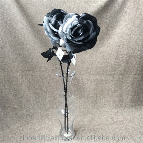 Wholesale Artificial Silk Forever Black Rose Flowers For Decoration