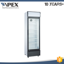 Latest design free standing no frost vertical upright glass door chiller with double layers glass