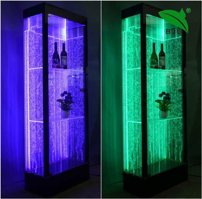 night bar wine display <strong>cabinet</strong> with led light changing and bubble