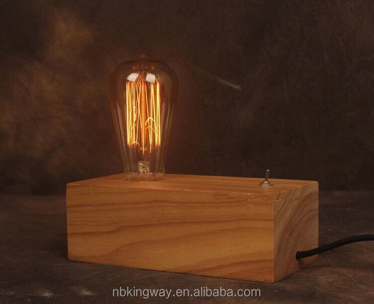 Vintage wooden table lamp /handmade retro desk lamp