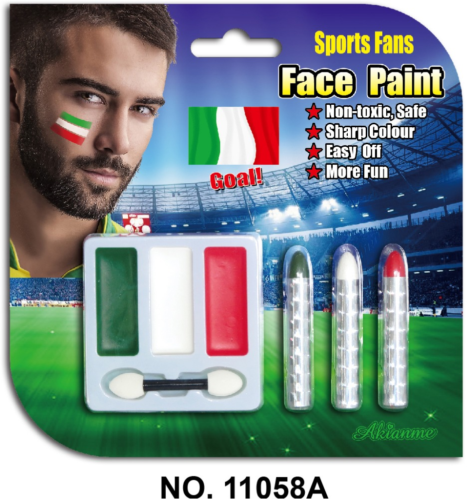 3-color flag face paint cheering set for sport fan