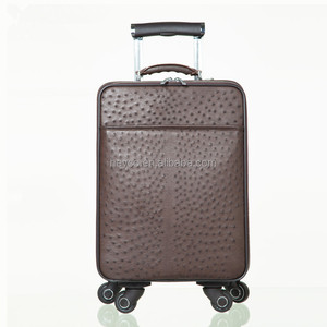 Heyco black brown exotic animal ostrich skin genuine leather travel luggage