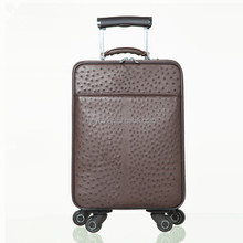 Heyco black brown extoic animal ostrich skin genuine leather travel luggage