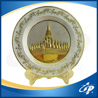 Most popular custom decorative silver gold two-tone color souvenir metal plate