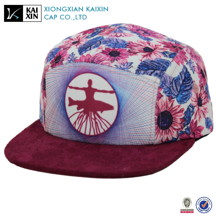 new design printing 5 panel camp hat with suede brim