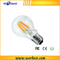 Worbest best selling Soft White 2700K 75-watt Equivalent led candle light A19 8W LED Filament Bulb