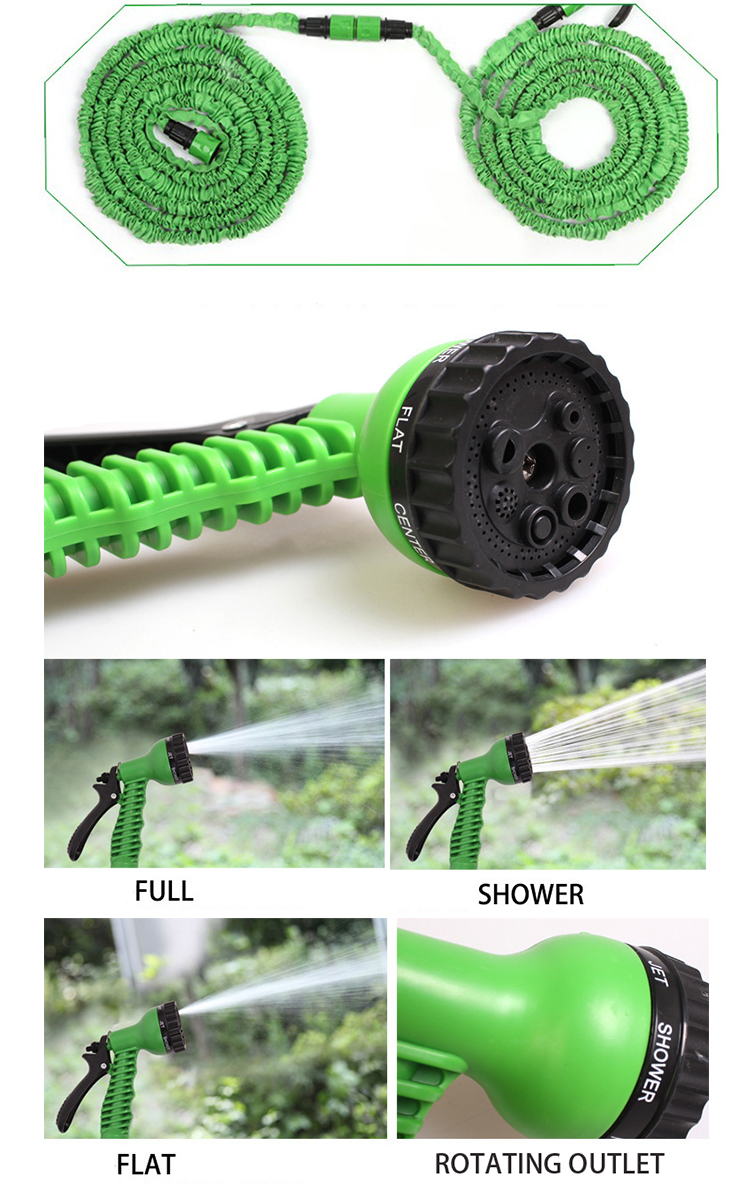 QJ-S-027 Hot Selling 50FT Garden Hose Expandable Flexible Water Car Wash Hose with Nozzle