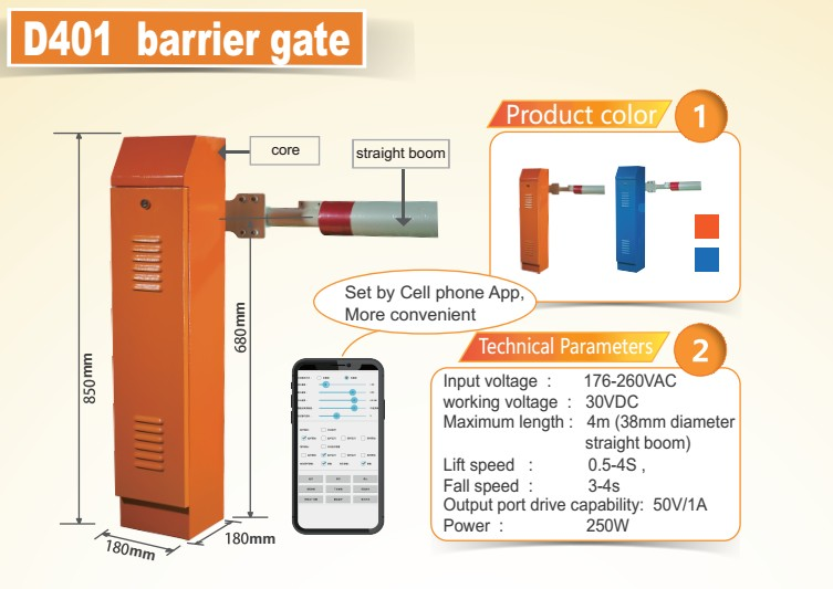 Connect with bluetooth in mobile phone 30vdc barrier gate with top technology