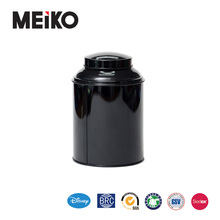 Black print metal material screw top tin can for coffee storage