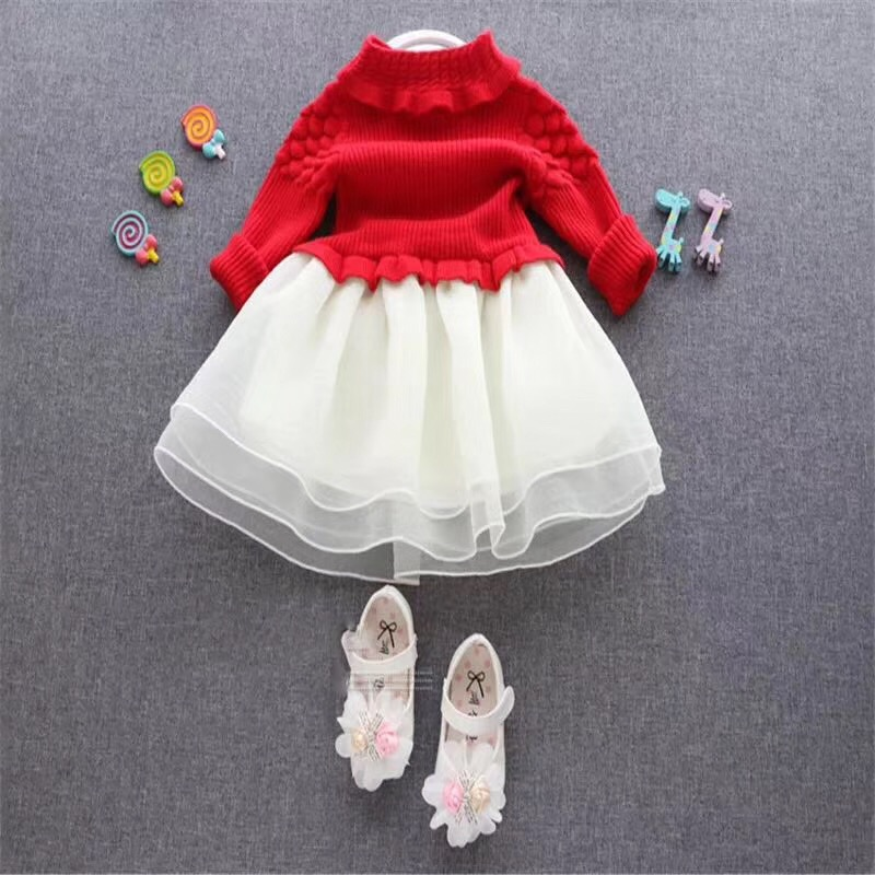 2017 autumns new flower baby dress designs girls party dresses