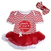 Baby Girl Clothes First Christmas Jingle Bell Red Chevron Bodysuit Tutu and Headband NB-18M