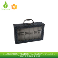 Factory price for PVC Window PU Leather Watch Box 12 Slots With Pillow
