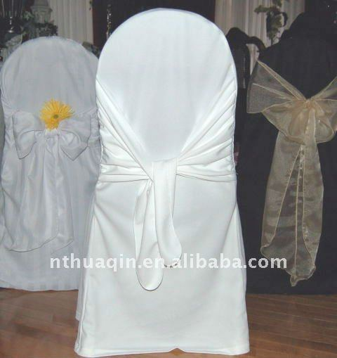 White scuba chair cover with cross sash on the back high quality decorative chair cover round top poly jersey chair cover