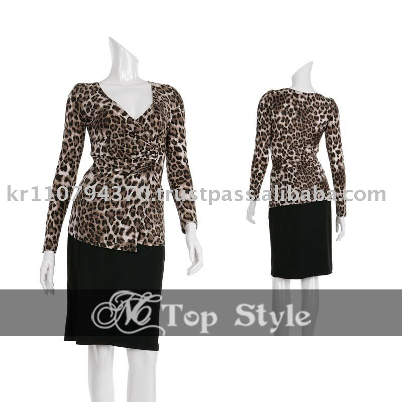 2010 NEW Fashion Womens Sexy Brown Leopard Printed Wrap Korean Style Top