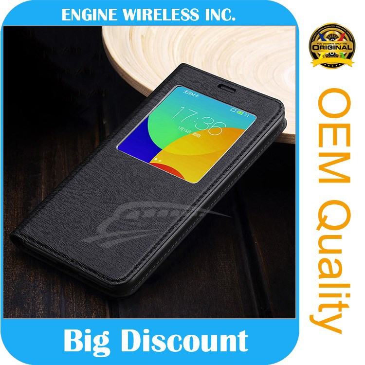high quality luxury Window cover Genuine pu Leather phone case for samsung s4