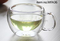 Double wall bistro insulated glass tea mug/clear thermos glass tea cup set of 4