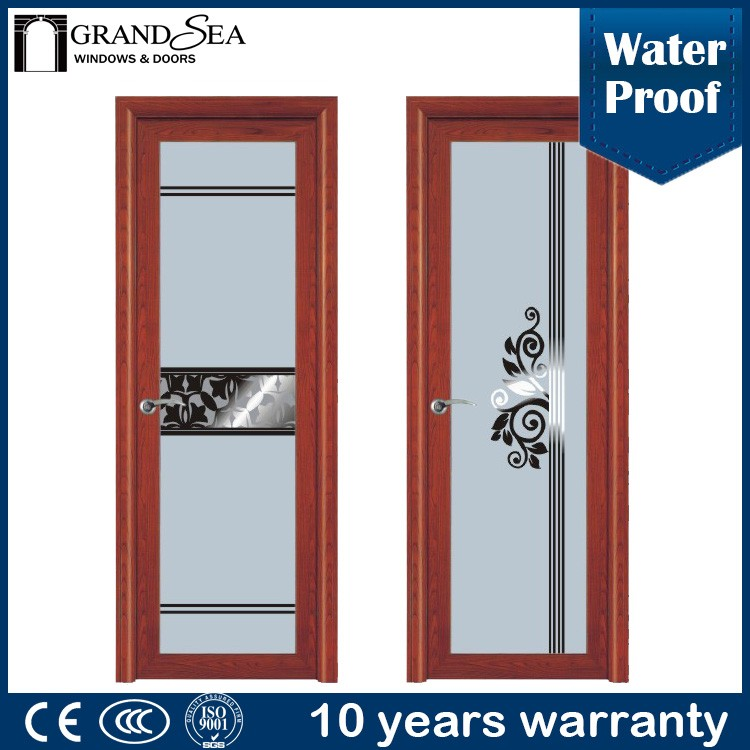 2016 new product wooden grain color aluminum framed models of doors to room with CCC certification