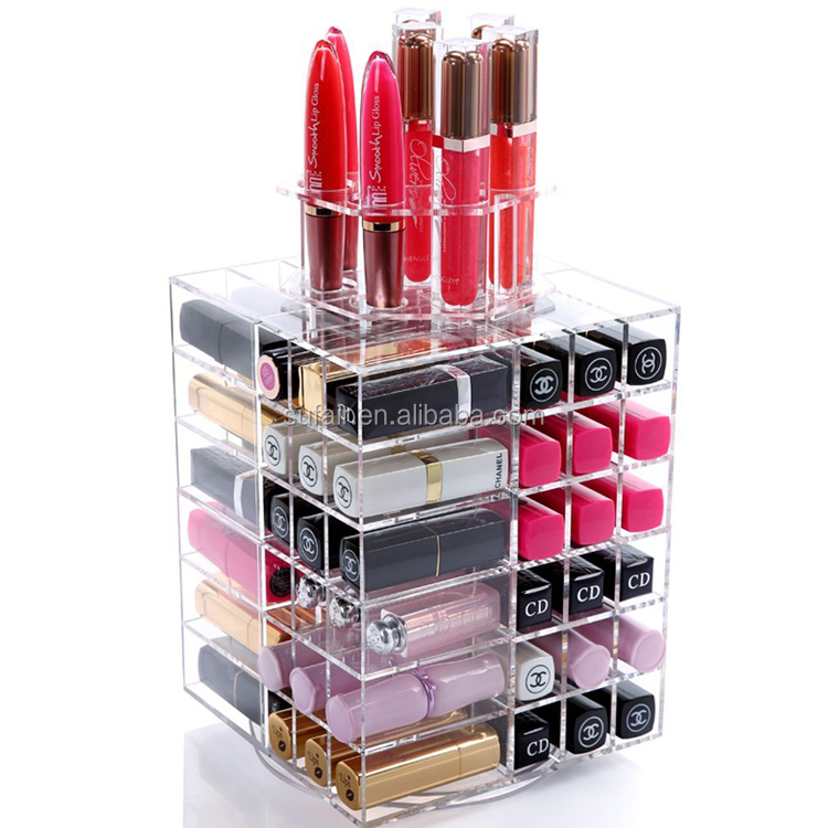 360 degree rotating display best selling transparent acrylic lipstick holder