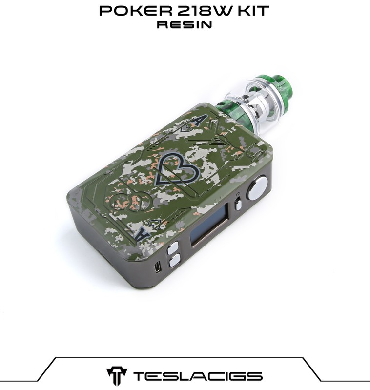 Regulated Vape Mods Teslacigs Resin Tank Poker 218W Box Mod Kit