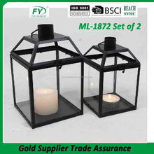 Gifts & Decor Large Contemporary Table Top Metal Candle Holder Lantern With Glass Panels ML-1872 set of 2