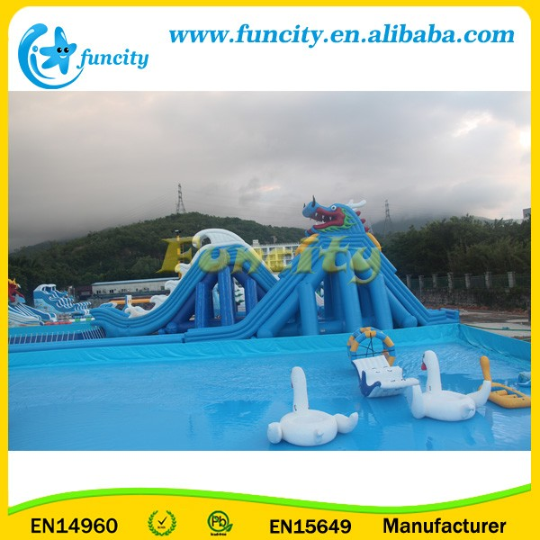 Large-scale Inflatable Water Park / Frame Pool With Water Slide Toys