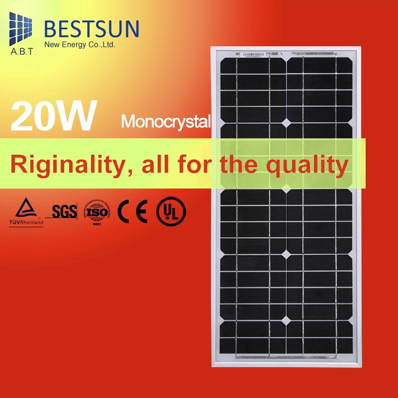 20W 18V monocrystalline silicon Solar Panel 12V photovoltaic power home system 20Watt 20WP 12VDC