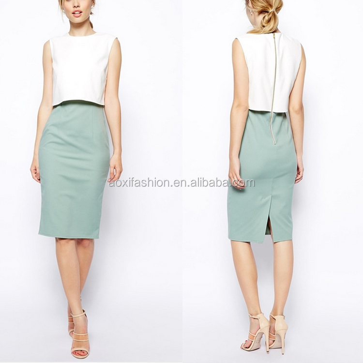 Latest Design Pencil Dress in Colour Block Sleeveless Office Dress