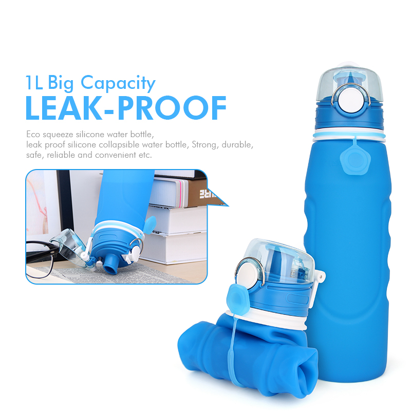 China supplier custom collapsible bpa free silicone water bottles 1 litre