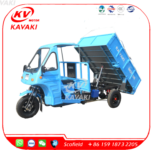 KAVAKI Heavy Truck Garbage Motor Tricycle With Hydraulic Dumper