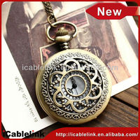 portable pocket watch with flower pattern hollow