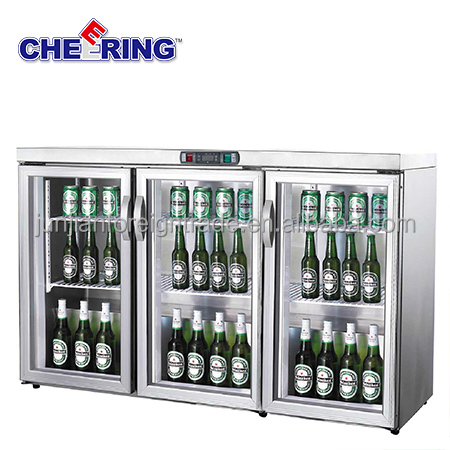supermarket equipment guangzhou manufacturer 3 door glass mini fridge table top bar refrigerator for beer and drinks