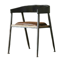 Antique retro industrial metal frame wooden seat chairs armrest dining chairs