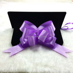 Gift Wrapping Pull String Purple Satin Ribbon Bow