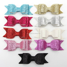 Hot selling glitter large hair bows with clips Baby Hair Accessories leather hair bow