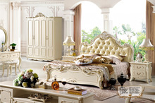 European style solid wood carving classic hotel bedroom furniture