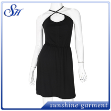 Newest style fashionable black backless slip dress for women