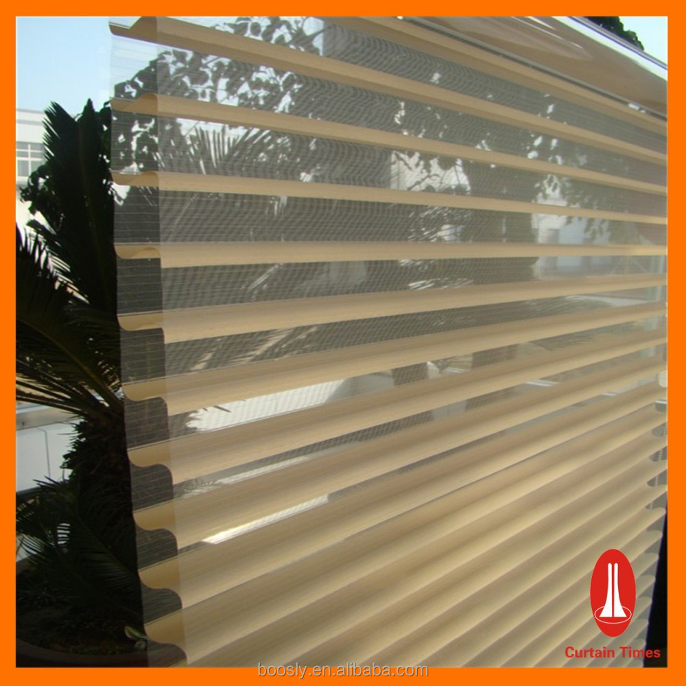 Elegant transparent sheer roller blinds/ 100%polyester shangri-la roller blinds
