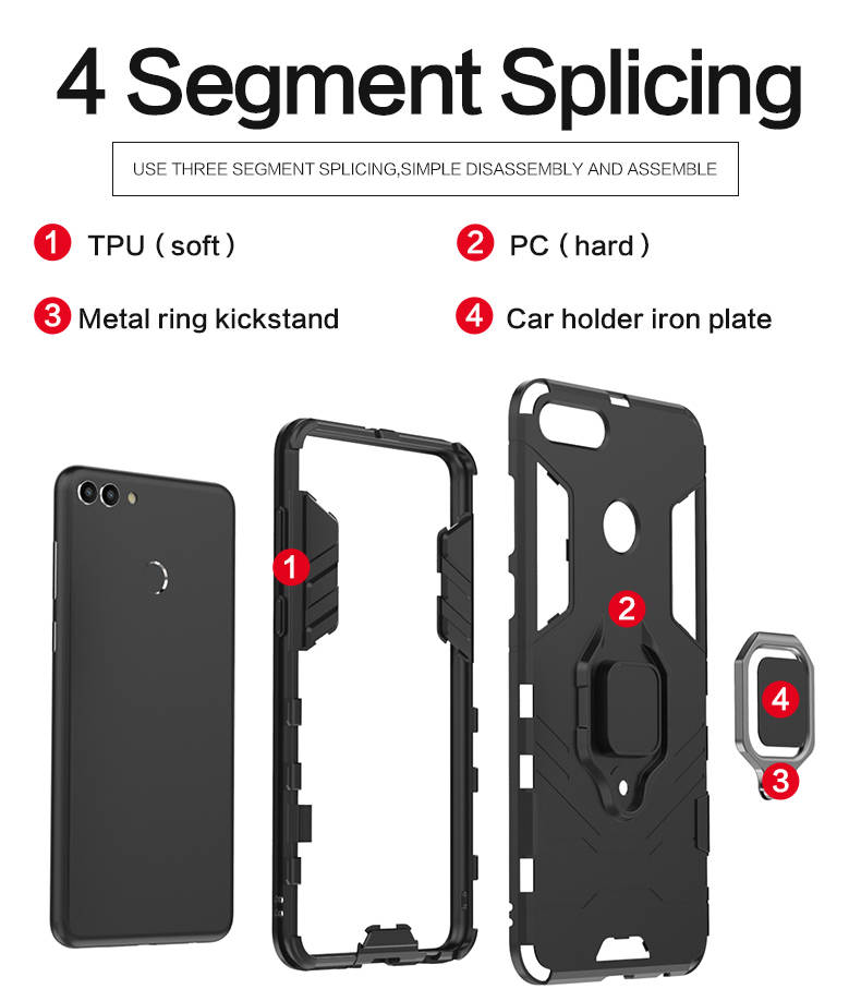 New Design tpu pc finger ring holder mobile phone back cover case for huawei y9 2018,case for huawei enjoy 8 plus