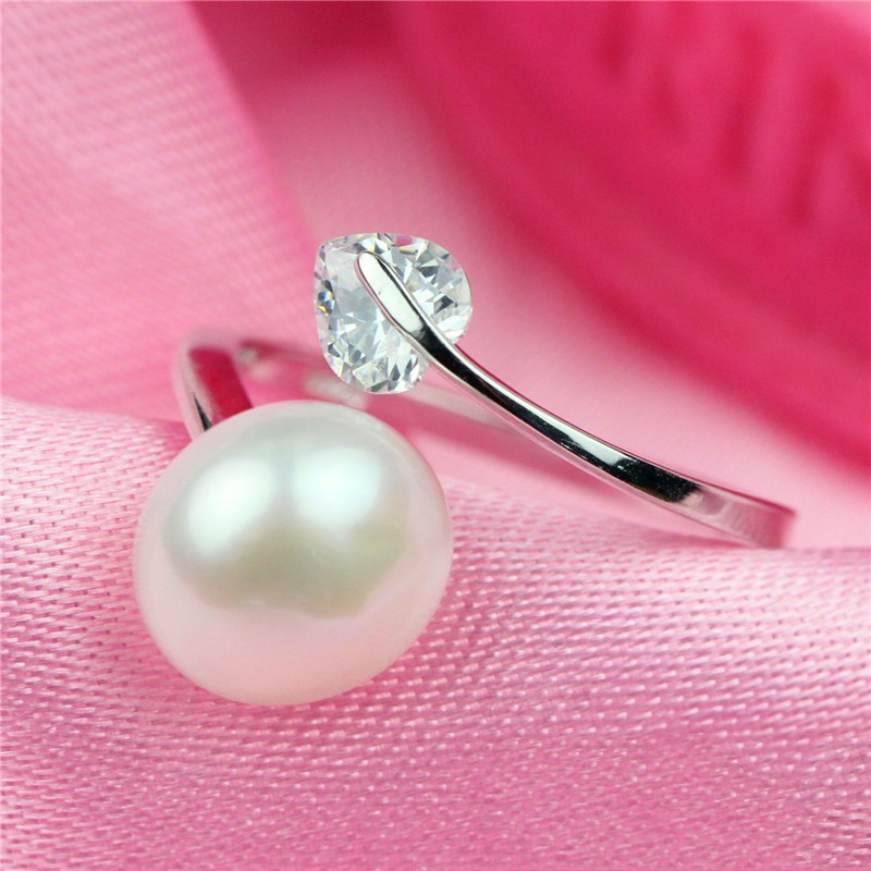 SJ Brand New SJB0010 Plain Design S925 Sterling Silver White Gold Plated Open Heart Cubic Zirconia Pearl Ring for Women