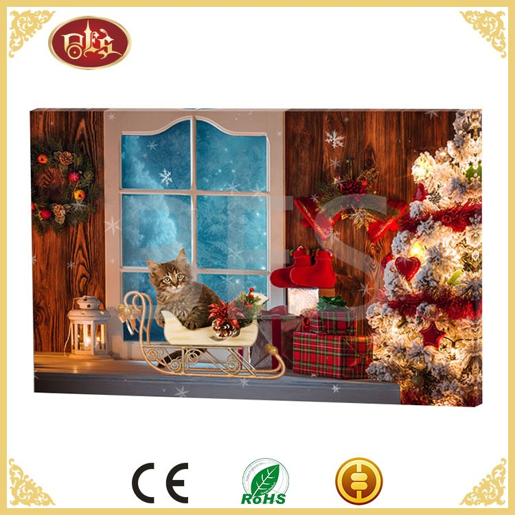 Holiday candles christmas creative wall decoration with led lights, canvas fabric painting designs images