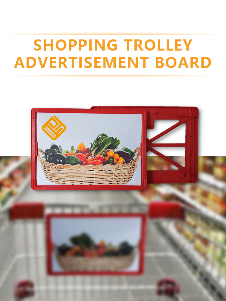 supermarket trolley advertising frames shopping cart handle advertising