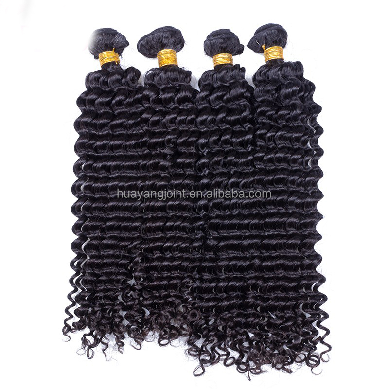 Machine Made Double Weft Human Hair Extensions Natural Color Virgin Burmese Deep Curly