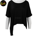 BSCI ISO9001 Manufacturer Hollowed Out Fashion Black T shirt