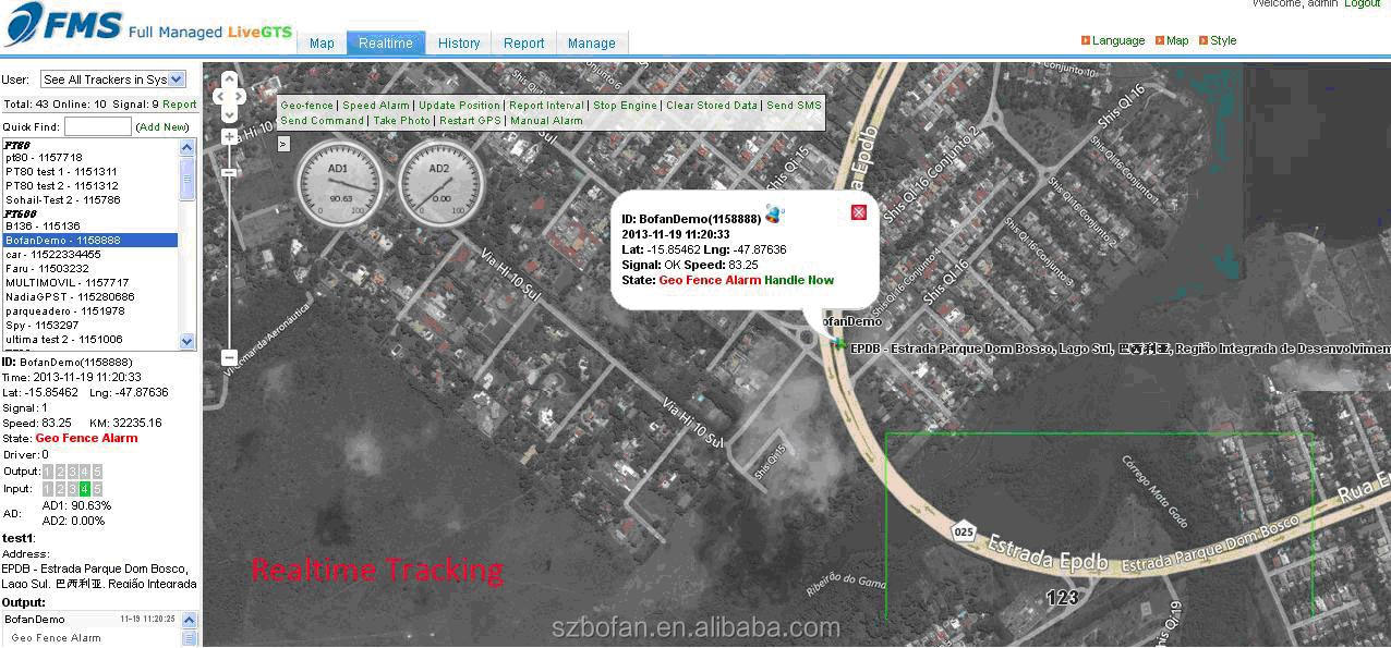 live gps tracker tracking software FMS/Demo